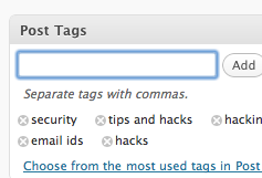 Adding Keyword as Tags