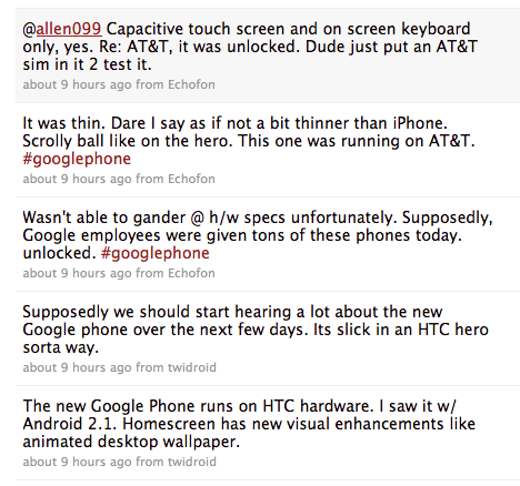 Google Phone tweets