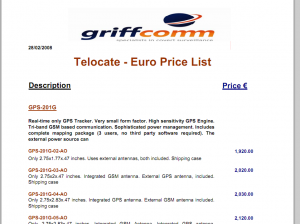 Griffcomm Spy Pricelist
