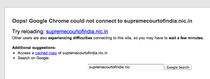 Supreme Court of India Website Down